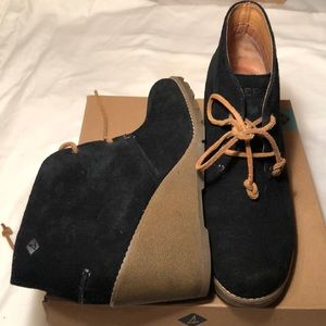 Sperry black suede booties